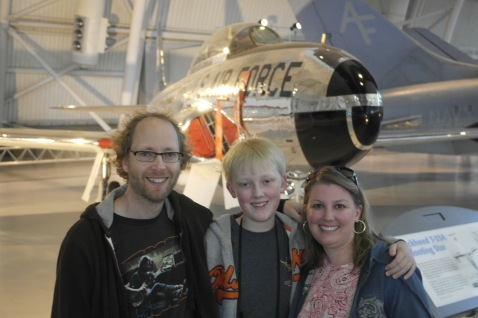 With my family in front of the Lockheed T-33A Shooting Star